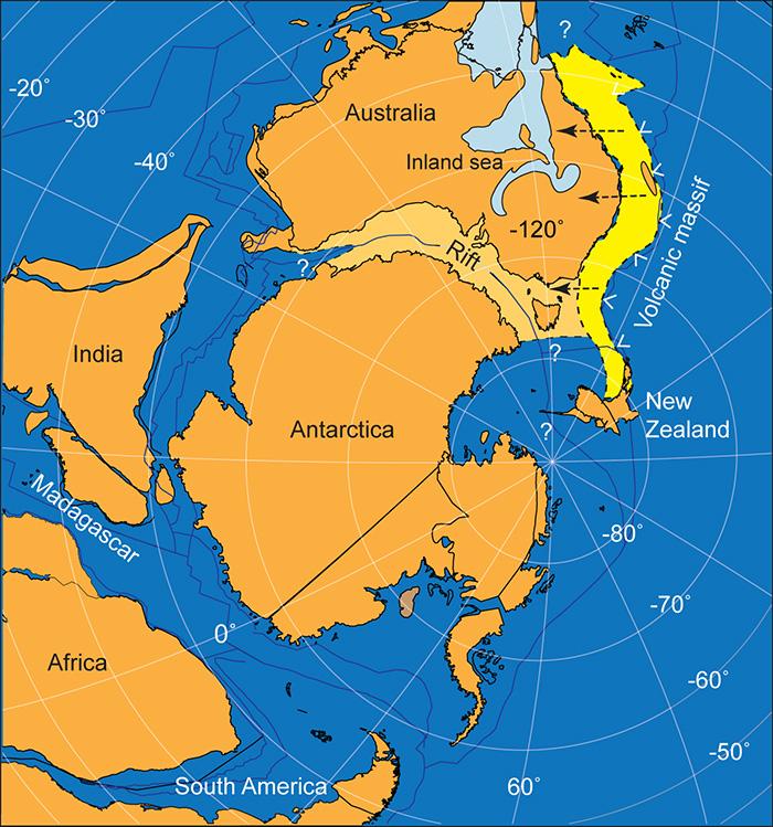 Illustration showing Gondwana 125 million years ago
