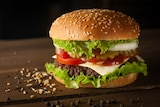 A burger on a plate, with lettuce and tomato.