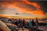 Main Beach carpark at Byron Bay at sunset