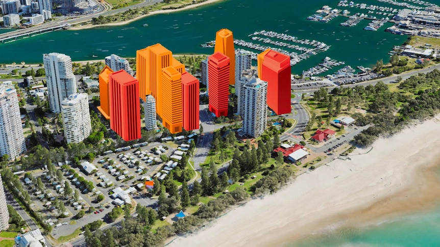 Aerial image of existing Main Beach high-rises and graphics showing potential tower developments.