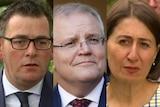A composite of three politicians' faces.