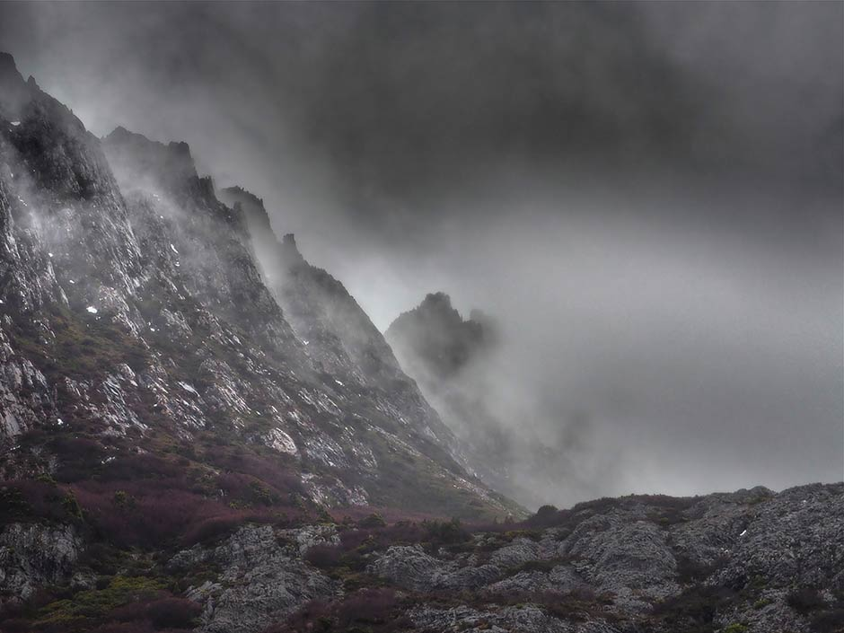 Cradle Mountain shrouded in mist
