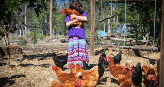 Jasmin hugs a chicken on the farm, as her feet are surrounded by about 20 of them in the pen