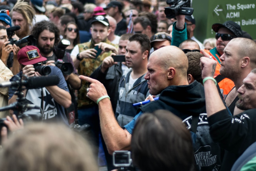 A man points angrily during a Reclaim Australia rally in Melbourne