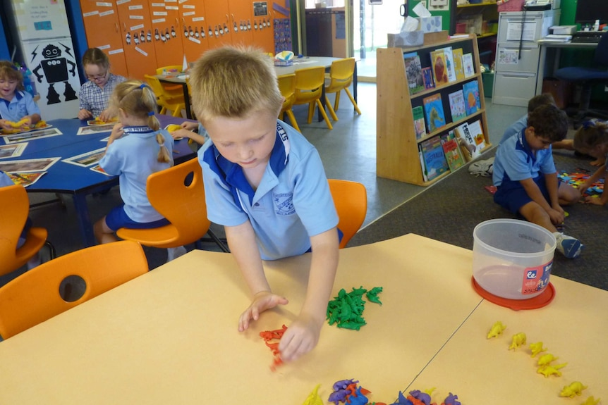 Students play in the classroom