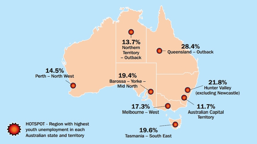 A map showing youth jobless hotspots