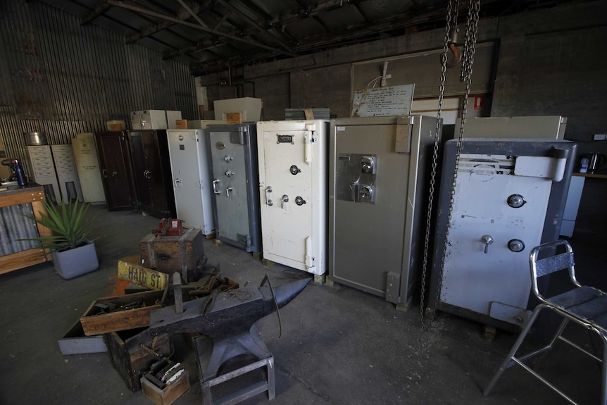 Large safes lined up in a row in Lilydale, north-east Tasmania.