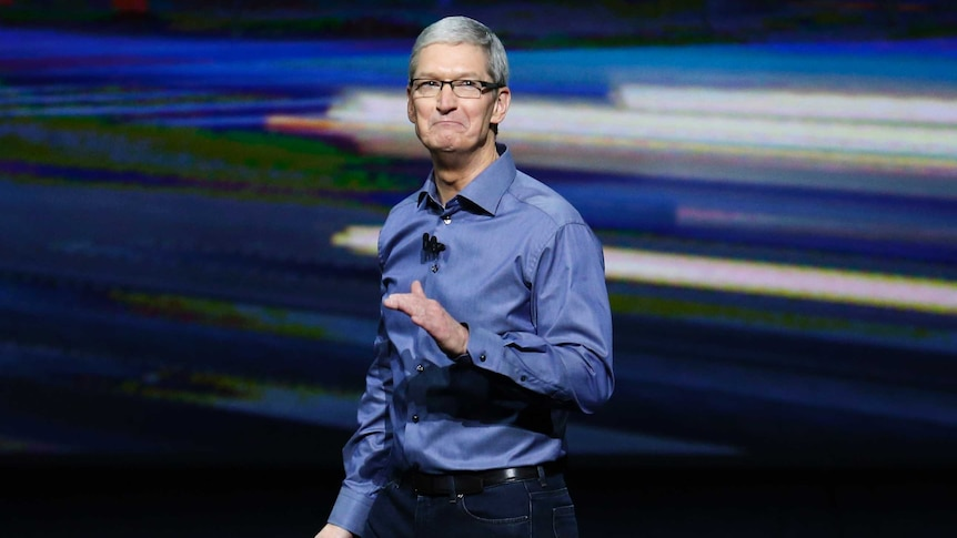 Apple CEO Tim Cook speaks during an Apple media event