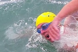Peter Schultz in the water swimming
