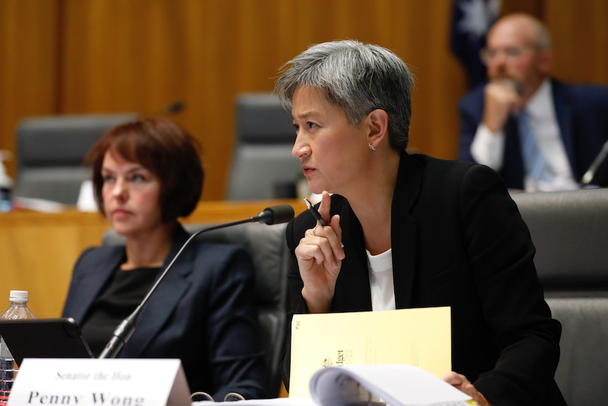 A woman with grey hair wearing a black blazer and white top sitting behind a microphone looking forward with a slight scowl
