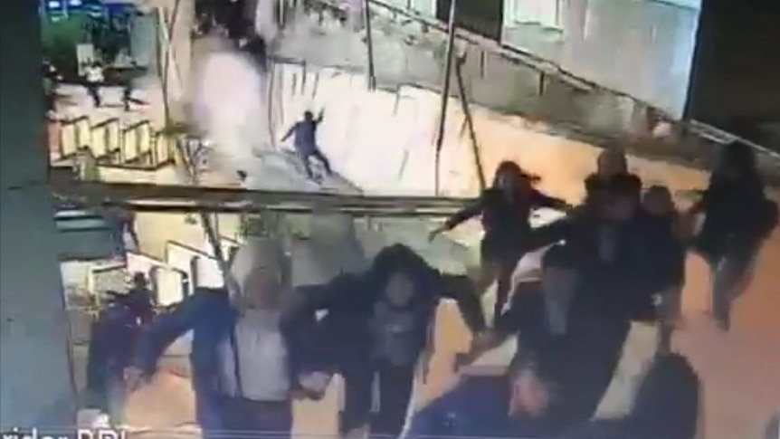 WARNING: Distressing content - Footage shows Jakarta stock exchange floor collapse