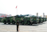 Chinese military vehicles carry hypersonic vehicles during military parade, October 1, 2019.