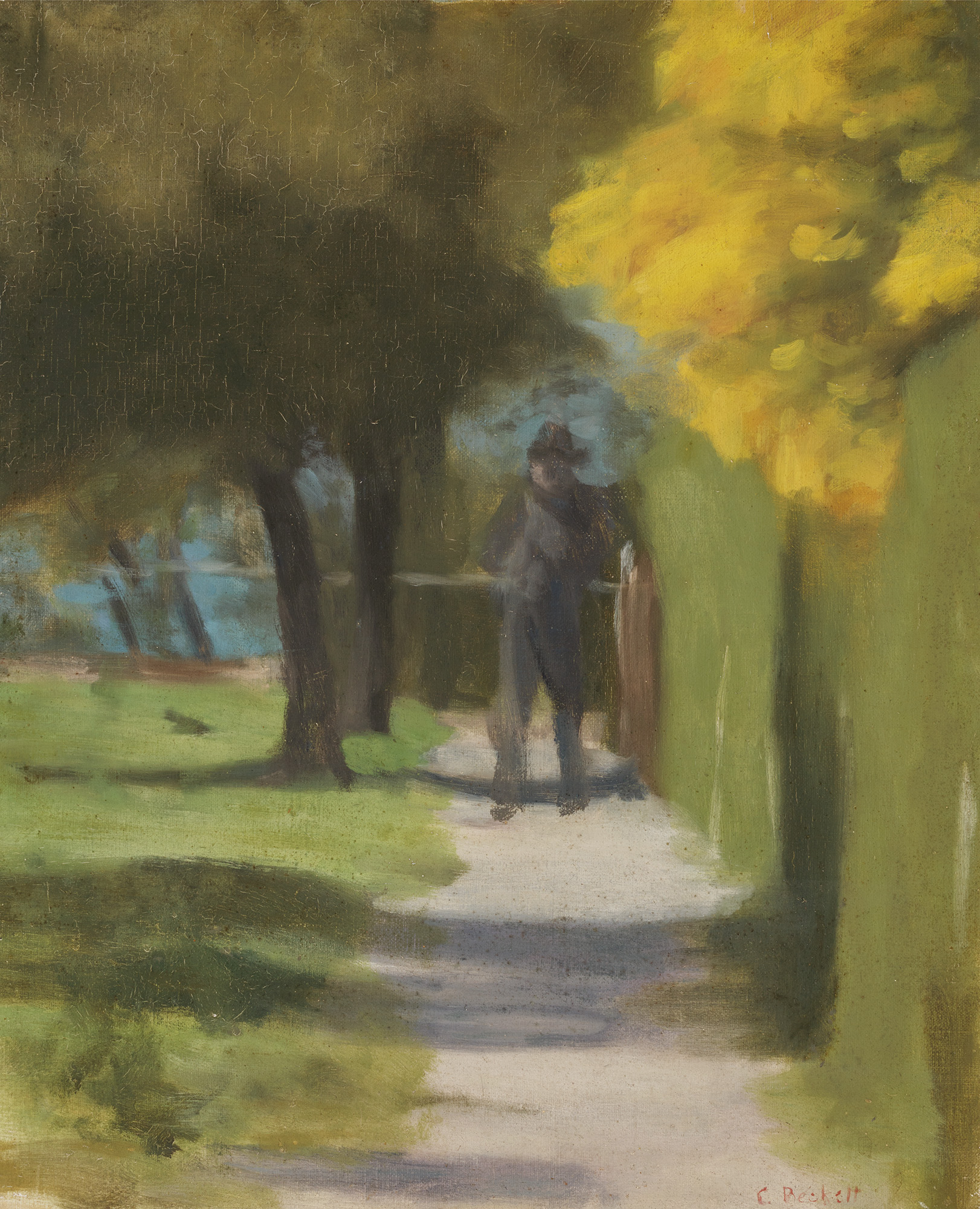 A painting by Clarice Beckett, blurry realism, with a man in the distance in a suburban street