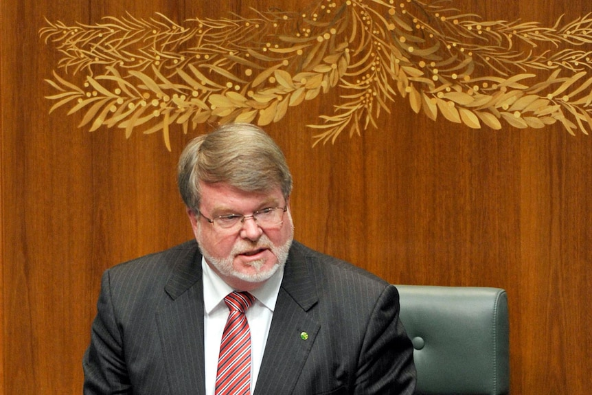 Harry Jenkins addresses the chamber at Parliament House.