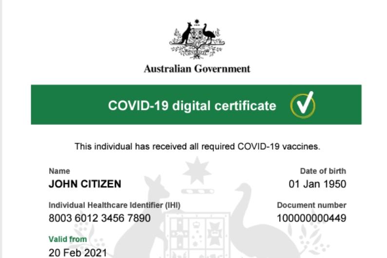 A screenshot of a PDF titled COVID-19 digital certificate