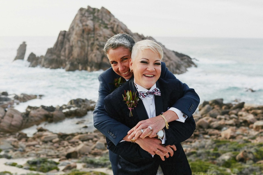 Evelyn and Sandra Gugliotta on their wedding day