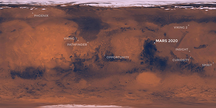 Mars landing sites over image of landscape.