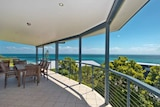 The verandah and view from Drew Wilson's Tangalooma beach house.