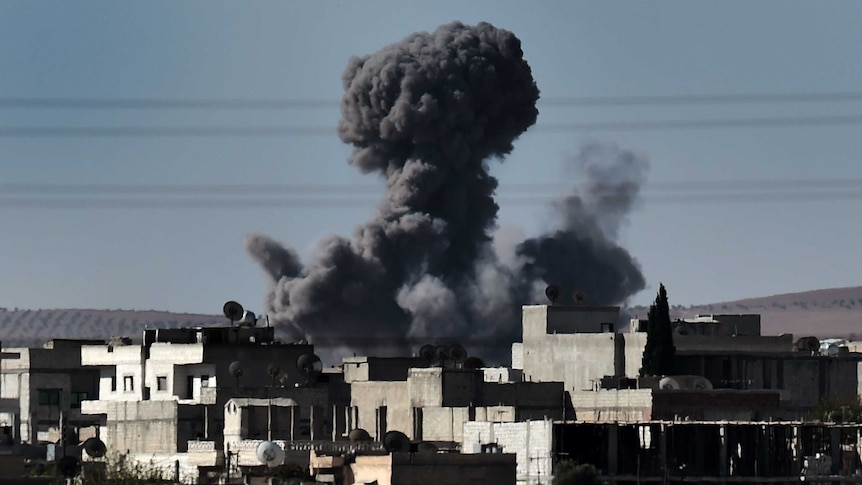 Smoke rising in Kobane