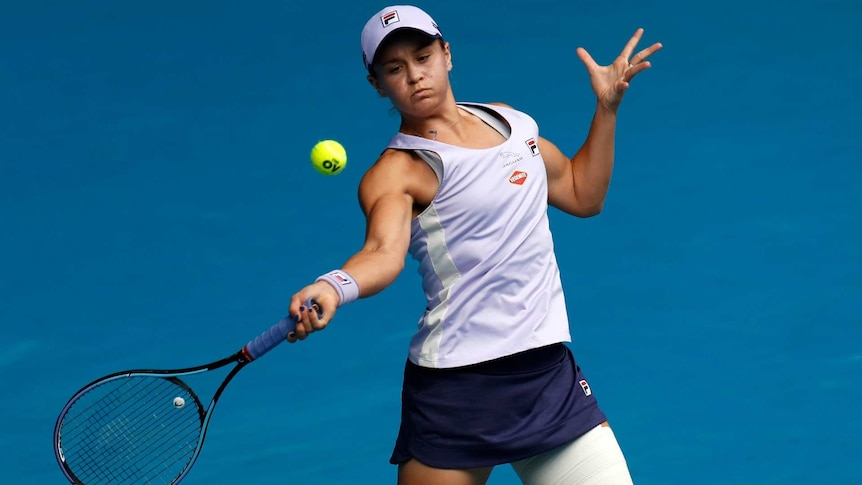 Ashleigh Barty playing a forehand shot at Melbourne Park during the Australian Open second round