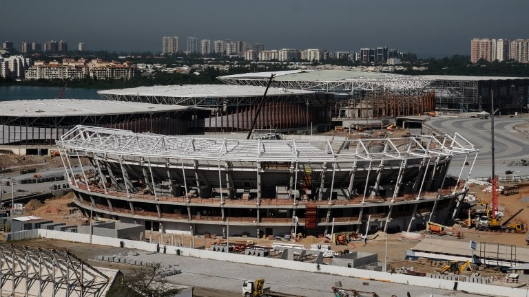 Construction of the Olympic Park site for the Rio 2016 Olympic games