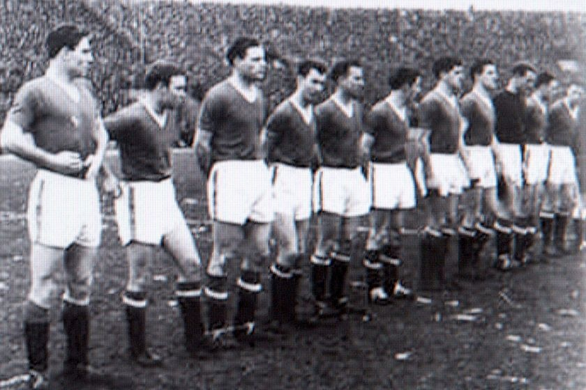 Manchester United lines up against Red Star Belgrade in the European Cup on February 6, 1958.