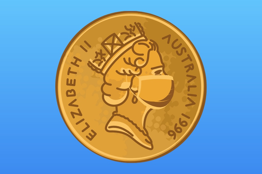 An illustration of an Australian coin, with the Queen wearing a mask.