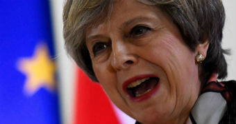 Prime Minister Theresa May talks.