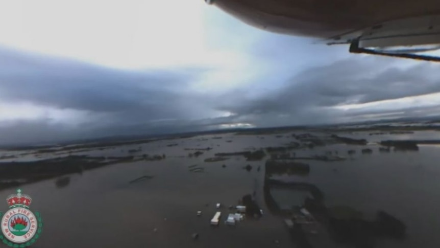 Footage filmed from the RFS chopper shows flooding in Lower Hunter.