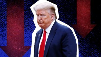 US President Donald Trump frowns.
