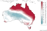 a forecast map of Austrlaia showing red sections across the northern part of the country