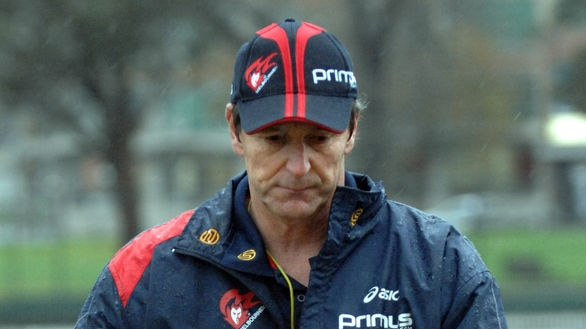 On the way out ... Neale Daniher will coach his last Melbourne game against Essendon on Friday night