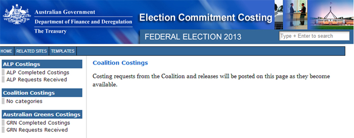 Coalition costings for the 2013 federal election