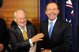 Tony Abbott (right) jokes with Philip Ruddock