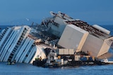 The capsized Costa Concordia cruise liner as it is about to be salvaged