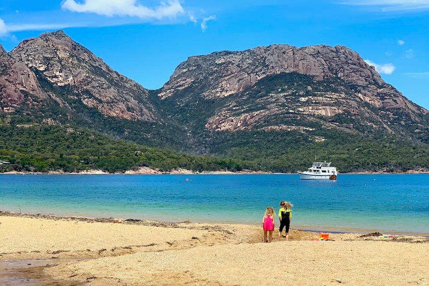 A scenic shot of a beach with mountains in the background and two children playing.