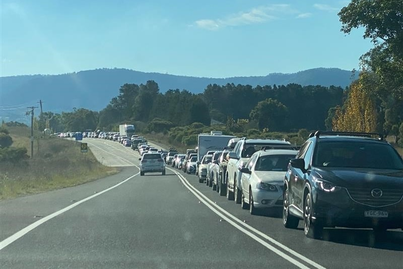 Traffic jam on the Great Western Highway