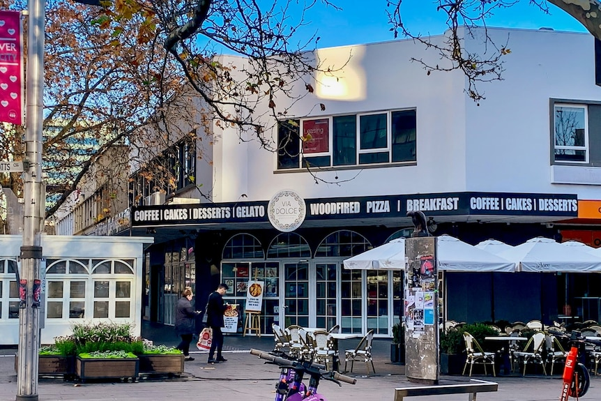 Exterior of Via Dolce cafe in Canberra's city centre