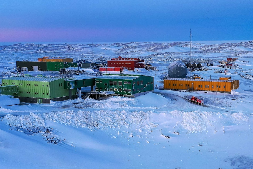 Australian research station in Antarctica surrounded by snow
