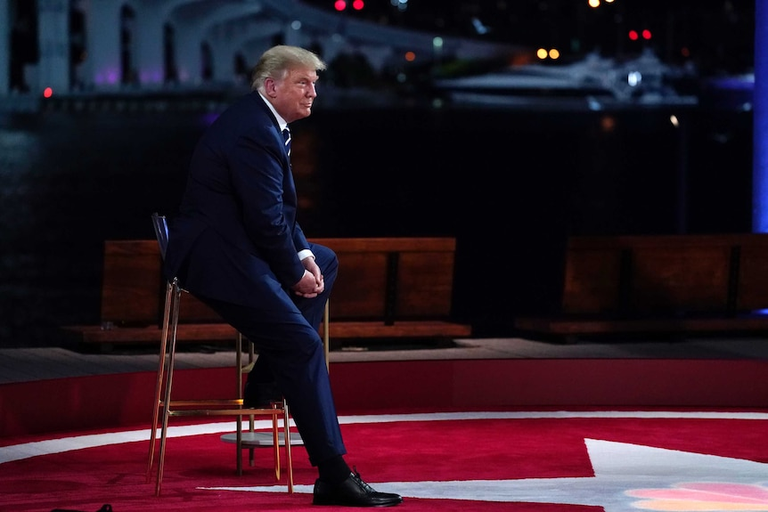 President Donald Trump speaks during an NBC News Town Hall