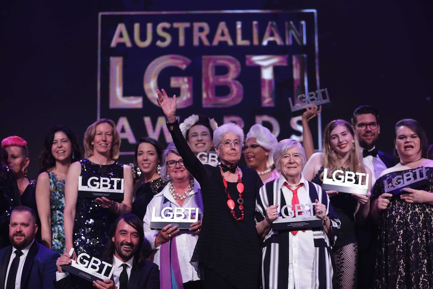 A group photo of the winners at the 2019 Australian LGBTI Awards, including Phyllis Papps and Francesca Curtis.