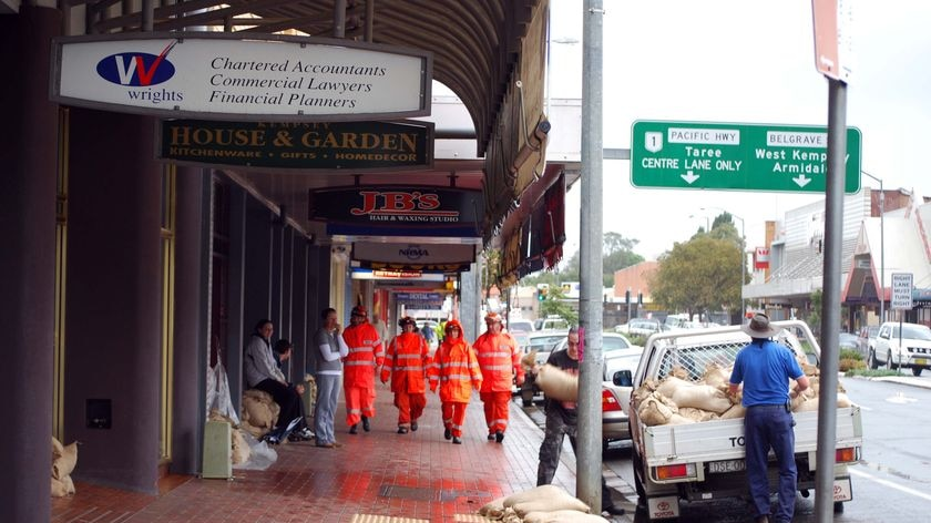 Water flowed around levee banks in some areas of Kempsey, but did not affect businesses in the central part of town.