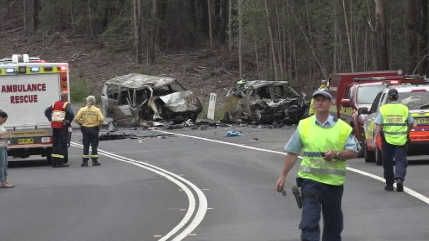 The highway remains blocked in both directions following a triple fatal road crash.