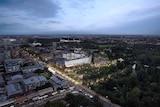 An artist impression of the developed Royal Adelaide Hospital site at dusk
