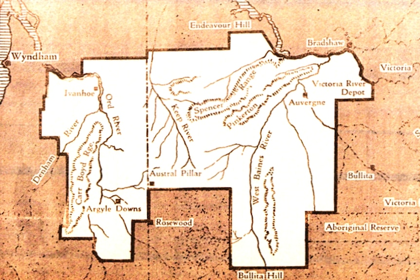 A map showing the area for a Jewish settlement in the Kimberley region proposed just before World War II.