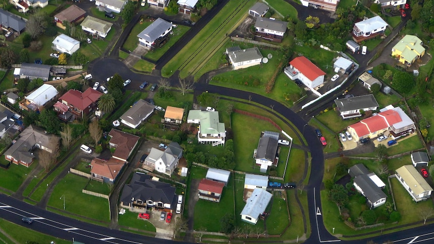 Residential houses can be seen along a road in a suburb of Auckland in New Zealand.