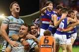 Sharks and Bulldogs celebrate during preliminary finals