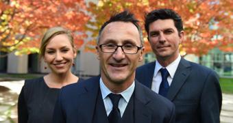 Greens Larissa Waters, Richard Di Natale and Scott Ludlam