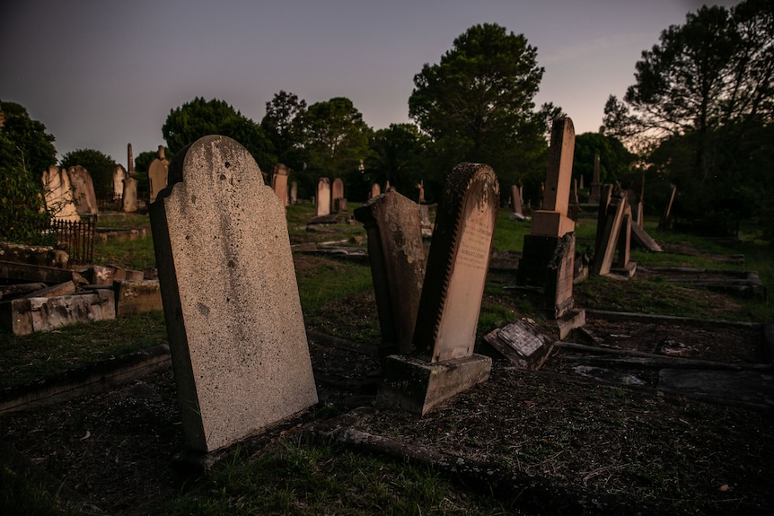Old headstones that are tilting at various angles out of the ground.
