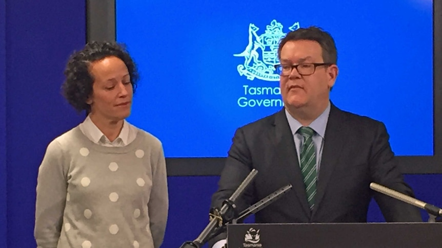 Matthew Groom with his wife Ruth, as he announced his decision to quit politics.